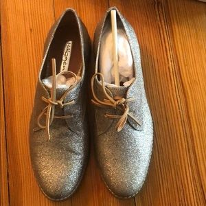 Halogen Silver Sparkle Oxford Shoes
